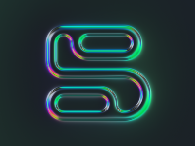 5 - 36 days of type #07 letter chrome reflection shiny lettering illustration 36daysoftype typography colors generative filter forge abstract art design