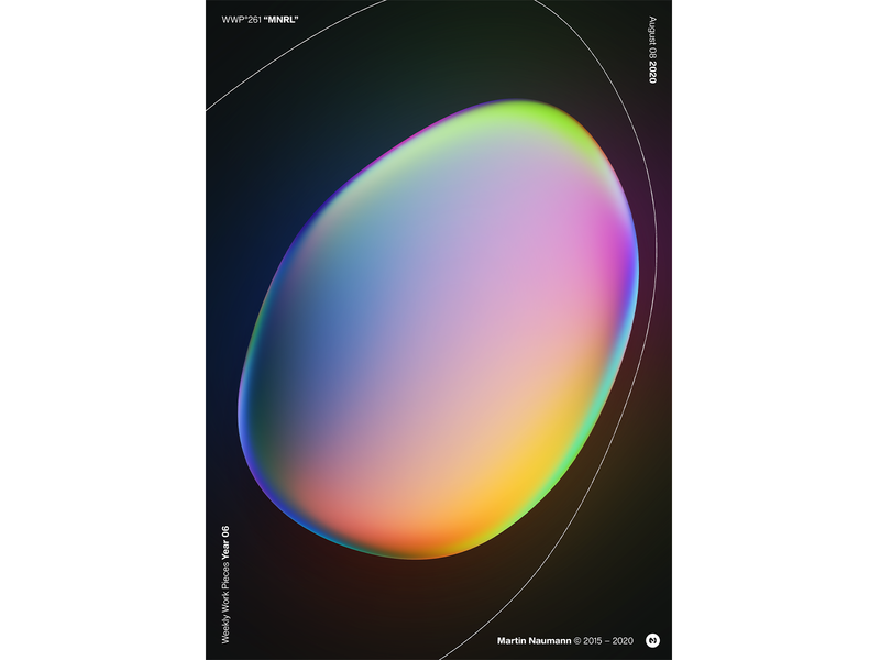 "WWP°261 ""MNRL"" poster gradient vibrant reflection bubble illustration colors wwp generative filter forge abstract art design"