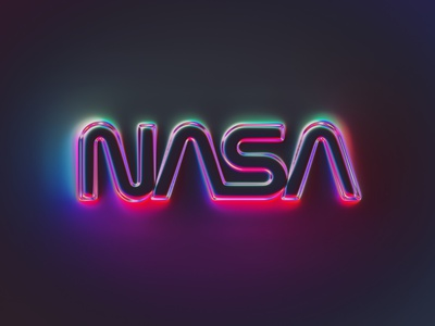 36 logos - NASA glow neon nasa logotype logo brand rebranding rebrand branding colors illustration 36daysoftype generative filter forge typography abstract art design