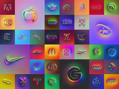 36 logos metallic 3d ux design logotype rebranding rebrand skeumorphism neumorphism ux ui logo branding illustration colors generative filter forge abstract art design chrome type