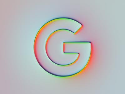 Google Logo x Super-Neumorphism #2 brand glow neon google neumorphism rebranding rebrand branding ui logo illustration colors generative filter forge abstract art design