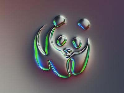 WWF logo x Naumorphism neumorphism logo design mark brand neon glow chrome rebrand branding logo illustration colors generative filter forge abstract art design