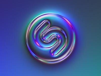 Shazam logo x Naumorphism chrome type neon naumorphism neumorphism chrome glow shazam logotype brand rebranding rebrand branding logo illustration colors generative filter forge abstract art design