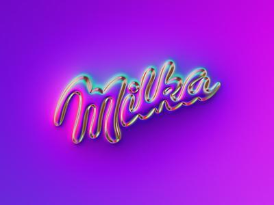 Milka logo x Naumorphism neon glow chrome type chrome logotype chocolate milka rebranding rebrand brand branding logo illustration colors generative filter forge abstract art design