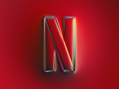 Netflix logo x Naumorphism ui movie shiny neon glow rebranding rebrand brand metallic chrome netflix logo branding illustration colors generative filter forge abstract art design