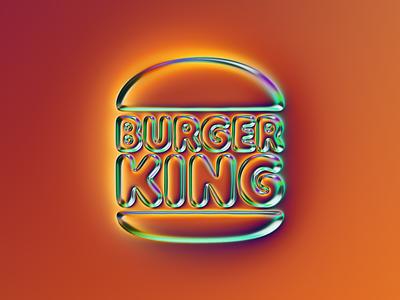 Burger King logo x Naumorphism chrome type chrome glow neon burger king burger bk branding 3d logo illustration colors generative filter forge abstract art design