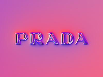 Prada logo x Naumorphism glow chrome type rebrand rebranding luxury prade chrome branding logo illustration colors generative filter forge abstract art design