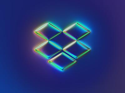 Dropbox logo x Naumorphism neumorphism glow chrome rebranding rebrand brand dropbox branding logo illustration colors generative filter forge abstract design art