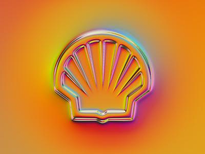Shell logo x Naumorphism brand rebranding rebrand chrome type chrome shell branding logo illustration colors generative filter forge abstract art design