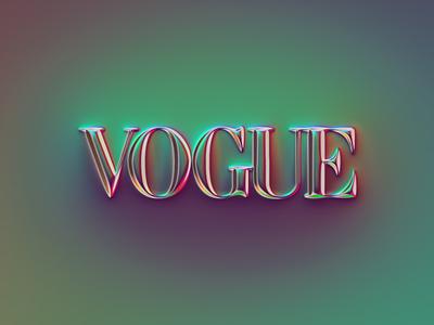 VOGUE logo x Naumorphism logotype typography neon glow fashion vogue chrome rebranding rebrand brand logo illustration design colors generative filter forge branding abstract art