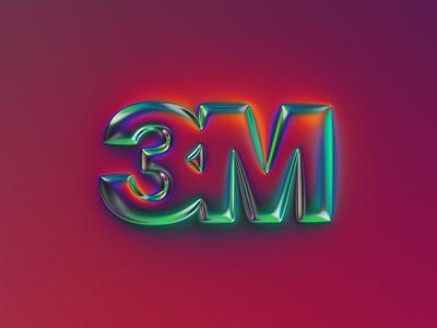 3M logo x Naumorphism graphic design 3d glow neon chrome brand rebranding rebrand logotype 3m branding logo illustration colors generative filter forge abstract art design