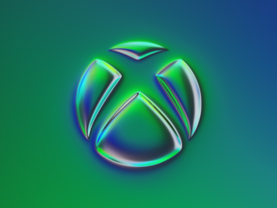 XBOX logo x Naumorphism embossed chrome neon glow green xbox gaming branding logo illustration colors generative filter forge abstract art design