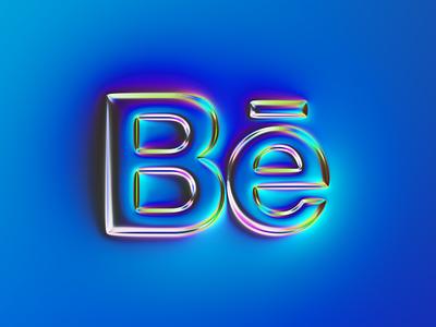 Behance logo x Naumorphism chrome neon graphic design glow blue behance rebranding rebrand branding logo illustration colors generative filter forge art abstract design