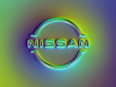 Nissan logo x Naumorphism 3d graphic design neon glow chrome rebrand nissan car branding logo illustration colors generative filter forge art design abstract