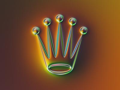Rolex logo x Naumorphism crown time metallic glow neon logo branding chrome golden gold watch rolex illustration colors generative filter forge abstract art design