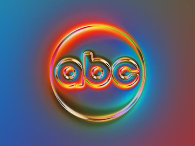 abc logo x Naumorphism rebranding sunset neon glow chrome rebrand tv abc network abc branding logo illustration colors generative filter forge abstract art design