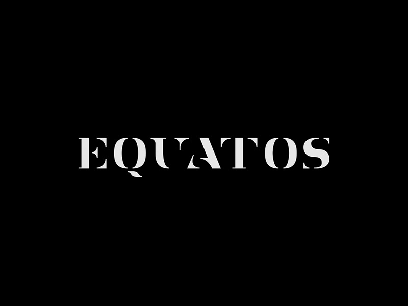 Equatos Records Logo stencil type serif geometric symbol mark design logo