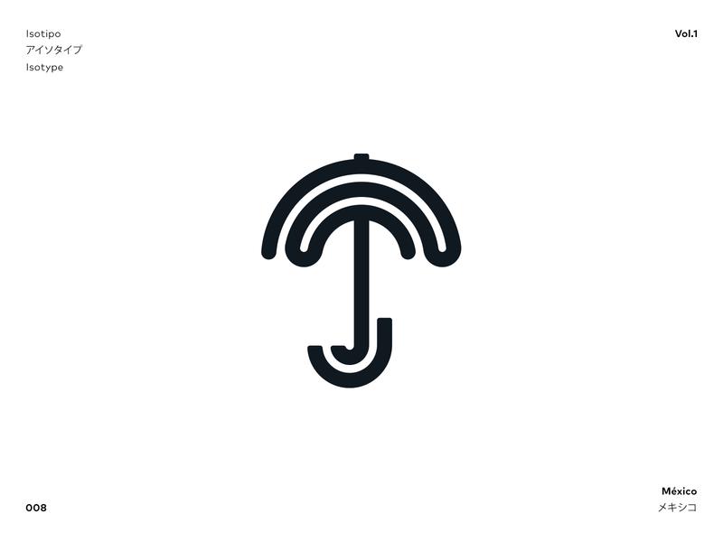 isotype  /  008 umbrella rain logo j logo umbrella logo isotype vector logo branding logotipo logotype adobe illustrator