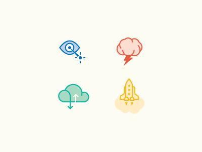 Exobrain Icons exobrain mind-mapping icons illustration rocket brainstorm cloud