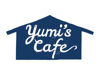 Yumis Cafe branding logo busines card type typography hand drawn type