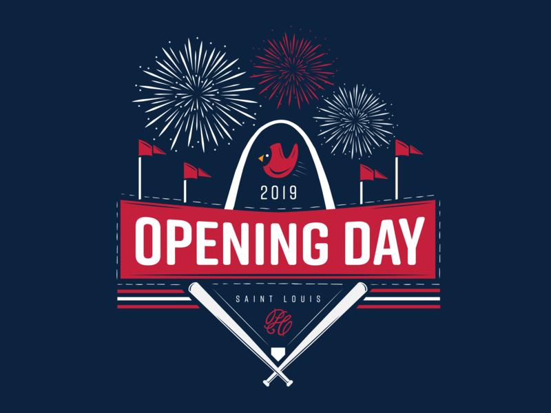 St. Louis Cardinals Opening Day lockup fireworks bats baseball badge