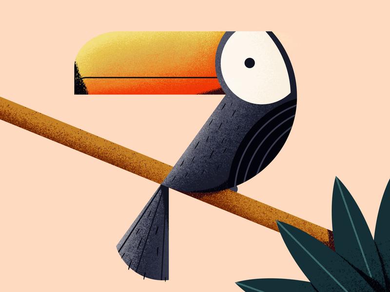 TouCAN do it - Day #171 texture design animal geometic simple cute pink illustraion vector photoshop bird tropical toucan