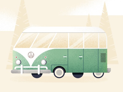 Dude, where did my Van Gogh? Day #183 nature retro vintage car vw bus simple vector cute texture illustraion