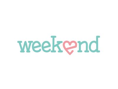 Nail salon Weekend Logo heart typography logo