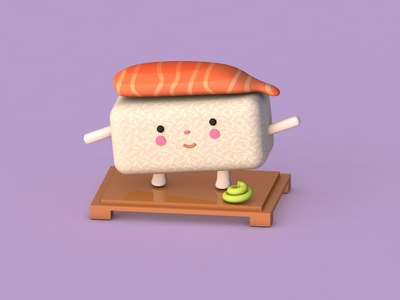 My First Sushi 3D cinema 4d character 3d art color animation sushi modeling 3d modeling 3d