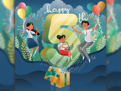 Illustration for Ruangguru's 5th Anniversary mobile apps education youth kids characters illustration vector celebration party anniversary birthday