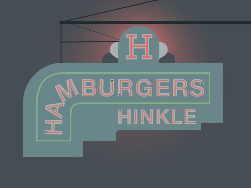 Hinkle's Hamburgers in Madison, IN city vector illustration illustration digital illustration sign design vector art illustrator signage food travel madison madison indiana indiana vintage sign signs cities neon hamburgers