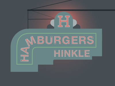 Hinkle's Hamburgers in Madison, IN city vector illustration illustration digital illustration sign design vector art illustrator signage food travel madison madison indiana indiana vintage sign signs cities neon hamburgers