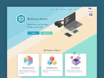 SD Hacks 2017 web ux ui college splash hackathon page landing designer design