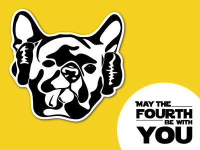 May The Fourth princess leia french bulldog may the fourth star wars illustration sticker