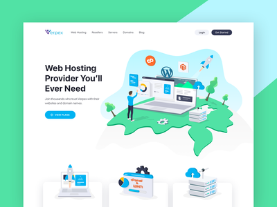 Verpex- Web Hosting Website blog domain server resellers web hosting clean character flat vector illustration design ux ui website