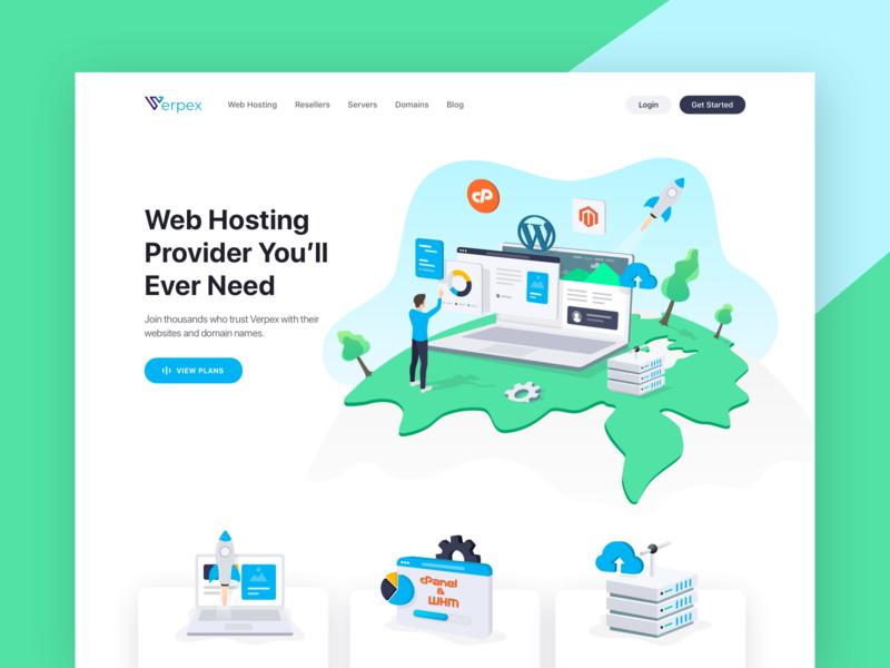 Verpex- Web Hosting Website blog domain server resellers web hosting clean character flat vector illustration design ux ui website