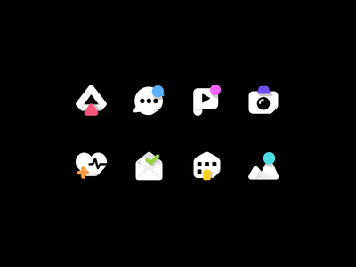 Dark Mode Icon Exploration app ui vector icon set drive dashboard health image email home camera play chat illustration gradient dark app icon design iconography icon