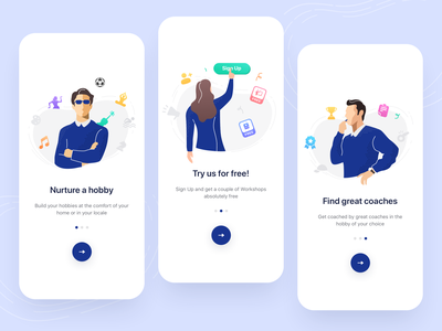 Onboarding Illustrations online training interaction registration ux ui design icons application character hobby coach mobile onboarding illustration