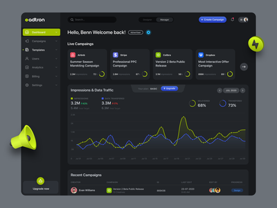 Campaigns Manager Dashboard analytics chart dark theme flat logo icons branding webapp web ui ux clean design mobile campaign ads manager campaigns dashboad