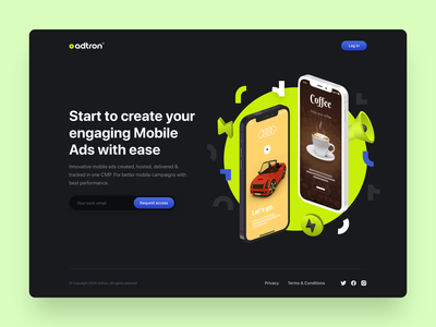 Prelaunch Landing Page landing page graphics ads mobile campaign campaign logo branding icons landing flat typography illustration clean ux ui dark theme design website