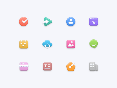 Soft Icon Set theme text chat image sync calender user share tick 3d web icon logo clean design ui bubble soft iconset icons