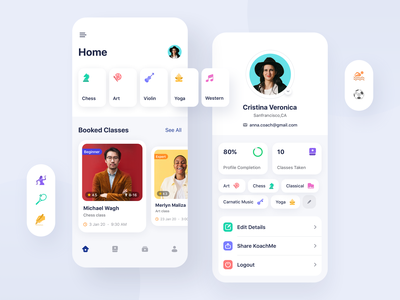 Coaching Mobile App class application chess music yoga arts hobby interaction icons illustration branding clean sports design ux coaching mobile
