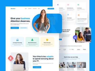 Westech Landing Page support marketing business technology clean solutions it landing page icon ui ux design branding web website