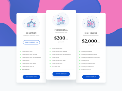 E-school Pricing page