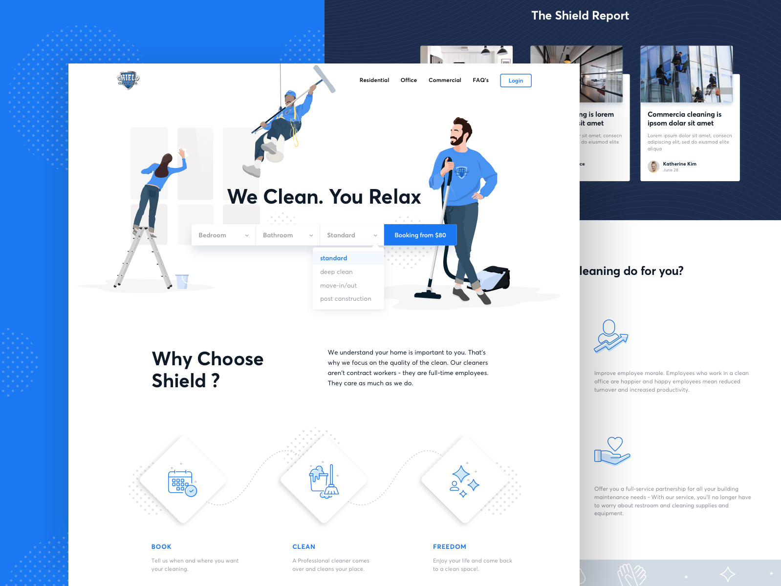 Shield Cleaning - Landing page repair man women vector work maintenance home blue service diy vacuum ux ui illustration character web landing page cleaning clean