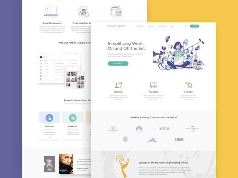 SyncOnSet Web Landing landing page sync studios set production tv film ux ui flat typography clean character illustrations design landing web website