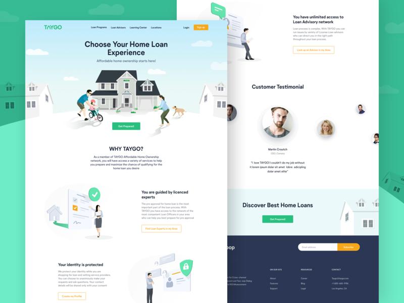 TAYGO Web Landing illustrations financial network advisor loan lender home ui ux vector character flat clean web landing website