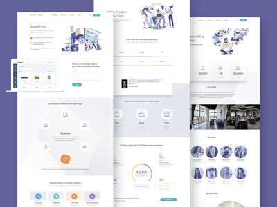 SyncOnSet Web Pages tv sync studios set production film landing page icon vector ui ux typography clean character design illustration web website