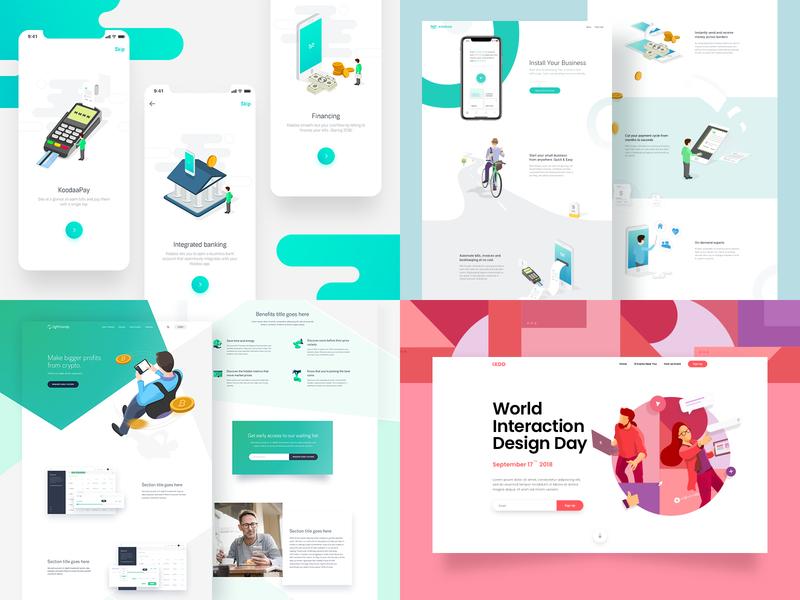 Shinas's top 4 of 2018 😃 icon app clean design typography landing page vector character illustration branding web landing website ui