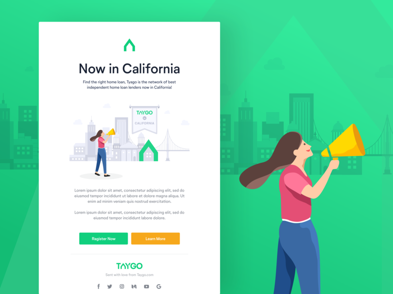 TAYGO Email Template logo brand identity marketing newsletter lenders california taygo home loan brand template email vector design character illustration ux ui